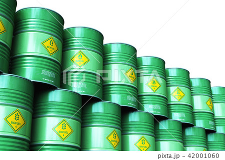 Stacked biofuel drums isolated on white background 42001060