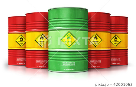 Biofuel drum in front of red oil or gas barrels 42001062