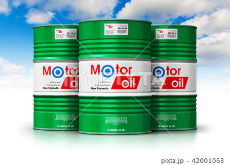Barrels with motor oil lubricant against blue sky 42001063