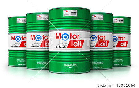 Barrels with motor oil lubricant isolated on white 42001064