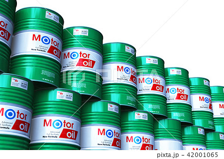Barrels with motor oil lubricant isolated on white 42001065