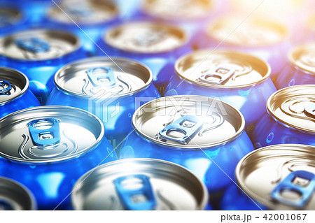Metal cans with soda refreshing drinks 42001067