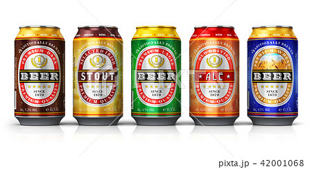Set of beer cans isolated on white background 42001068