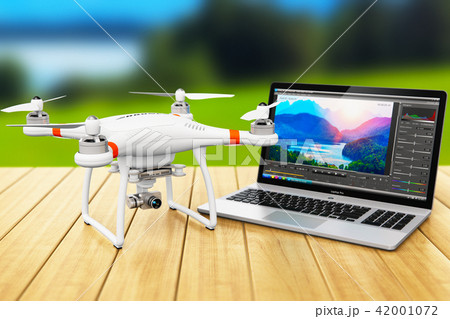 Quadcopter drone and laptop with video software 42001072