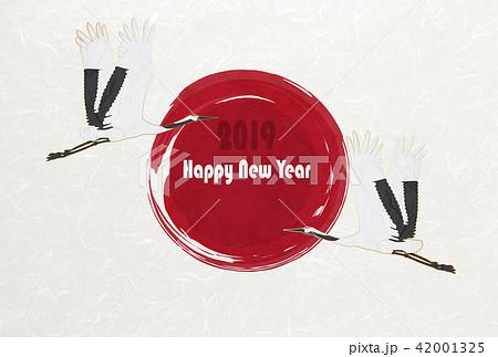 和紙の風合いを感じる年賀状素材 鶴 2019(はがき比率) 42001325
