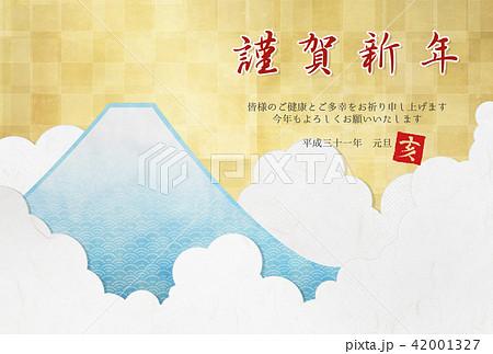 2019年 年賀状素材 (金、富士山、雲) 42001327