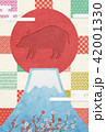 富士山 亥 年賀状素材のイラスト 42001330
