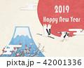 年賀状 富士山 鶴のイラスト 42001336