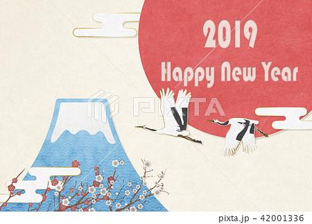 2019年 年賀状素材(はがき比率) 富士山 日の丸 鶴 42001336