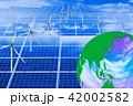 エコイメージ_自然エネルギーの利用_メガソーラーと風力発電と虹色の地球 42002582
