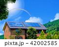 エコハウスと爽やかな青空と太陽と虹、光彩 42002585