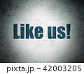 Social media concept: Like us! on Digital Data Paper background 42003205