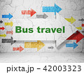 Vacation concept: arrow with Bus Travel on grunge wall background 42003323