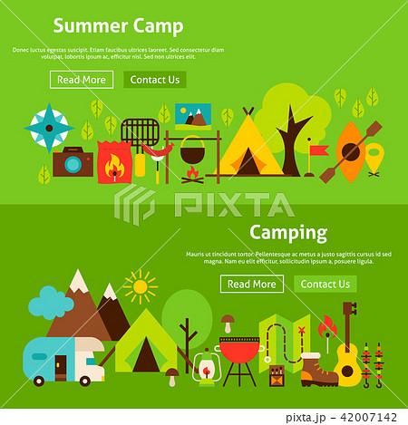 summer camp website bannersのイラスト素材 42007142 pixta