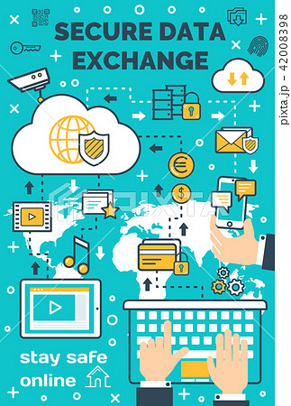 Vector poster for secure online data exchange 42008398