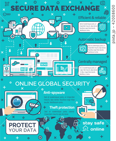 Vector poster for secure data exchange 42008600
