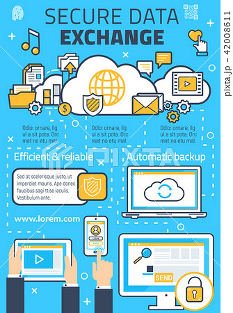 Vector poster for secure online data exchange 42008611