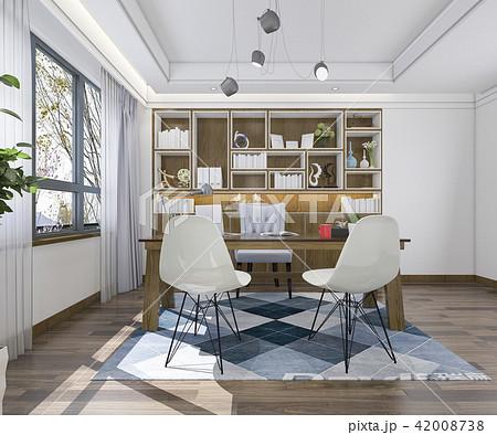 modern wood minimal working room 42008738