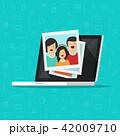 Photos on laptop computer screen vector illustration, flat cartoon photo cards on pc display, idea 42009710