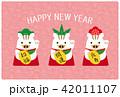 年賀状テンプレート 年賀状 ベクターのイラスト 42011107
