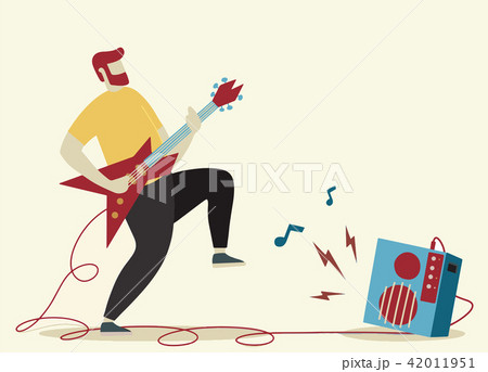 Young man with beard playing electric guitar.  42011951