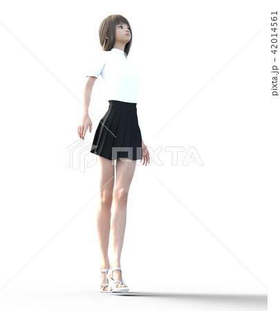 ロングヘアの若い女性  perming3DCGイラスト素材 42014561