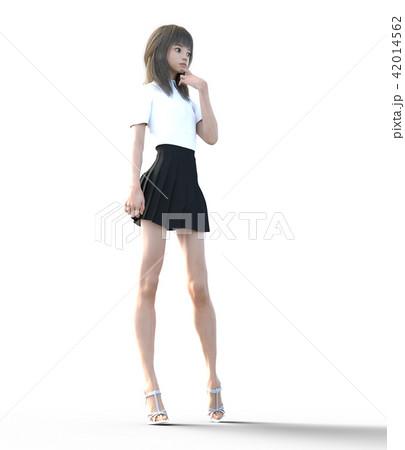 ロングヘアの若い女性  perming3DCGイラスト素材 42014562