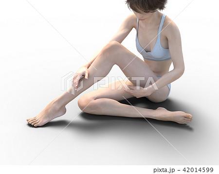 女性 スキンケアイメージ 脚 美脚 perming3DCG イラスト素材 42014599