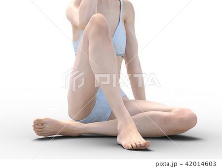 女性 スキンケアイメージ 脚 美脚 perming3DCG イラスト素材 42014603