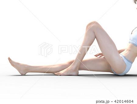 女性 スキンケアイメージ 脚 美脚 perming3DCG イラスト素材 42014604