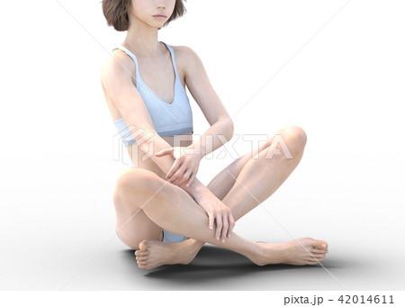 女性 スキンケアイメージ 脚 美脚 perming3DCG イラスト素材 42014611