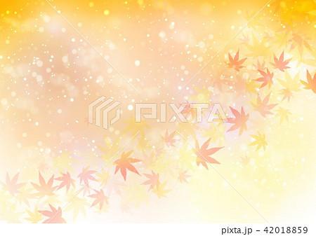 オレンジ背景秋色キラキラ紅葉 42018859