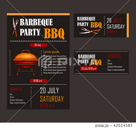 set of illustrations of a bbq menu template invitation card on a
