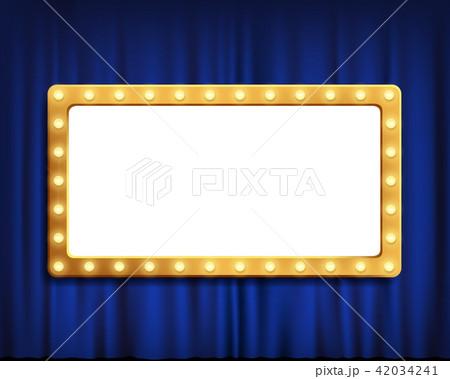 Gold frame on blue velvet curtain 42034241
