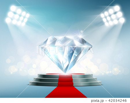 Blue diamond on the podium with a red carpet 42034246