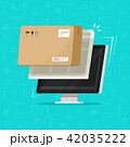 Parcel delivery tracking on computer vector illustration, flat cartoon pc with package box received 42035222