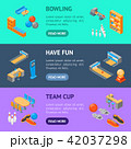 Bowling Game Banner Horizontal Set Isometric View. Vector 42037298