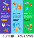 Bowling Game Banner Vecrtical Set Isometric View. Vector 42037299