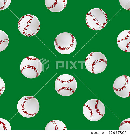 Realistic Detailed 3d Baseball Leather Ball Seamless Pattern Background. Vector 42037302