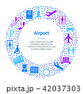 Cartoon Silhouette Airport Banner Card Circle . Vector 42037303