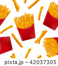 Realistic Detailed 3d French Fries Seamless Pattern Background. Vector 42037305
