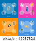 Dubai UAE Travel and Tourism Banner Set 3d Isometric View. Vector 42037328
