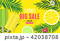Abstract Summer Sale Background with Palm Leaves and Ice Cream. Vector Illustration 42038708