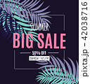 Abstract Summer Sale Background with Palm Leaves. Vector Illustration 42038716