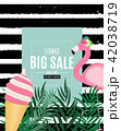 Abstract Summer Sale Background with Palm Leaves and Flamingo. Vector Illustration 42038719