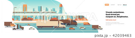 semi truck trailers driving highway road cars lorry over city background delivery cargo concept flat 42039463