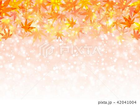 オレンジ色キラキラ背景と紅葉 42041004
