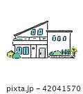 家 一軒家 不動産 イラスト 手描き  42041570