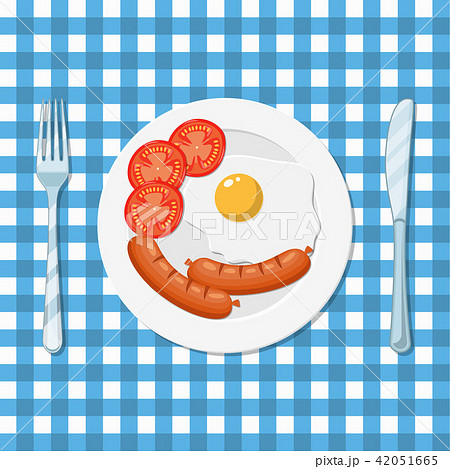 Breakfast, plate with fried egg and sausage. 42051665