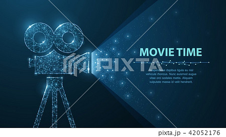 Polygonal wireframe movie projector show film at night on dark blue with stars in him light. 42052176